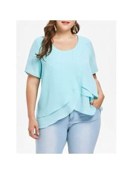 "<P>Plus Size Layered Ruffle Chiffon Blouse</P><I Class=""Icon Down Js Tap Up Down""></I> by Dress Lily"