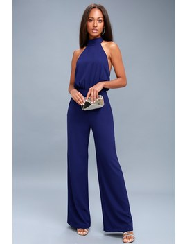 Moment For Life Royal Blue Halter Jumpsuit by Lulus