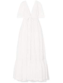 Uschi Embroidered Cotton And Silk Blend Voile Maxi Dress by Kalita