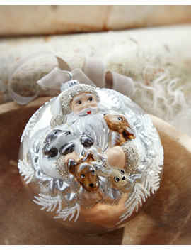 Large Ball Christmas Ornament With Santa And Friends by Neiman Marcus