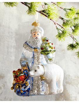 Santa With Polar Bear Christmas Ornament by Neiman Marcus