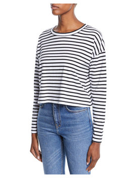 Roberts Striped Long Sleeve Cropped Tee by Neiman Marcus