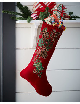 Beaded Pinecone Stocking Without Cuff by Neiman Marcus