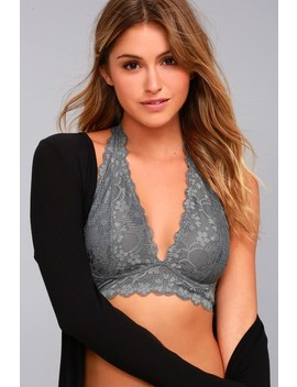 Galloon Halter Grey Lace Bralette by Free People