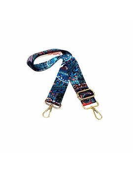 "M W 1.5"" Wide 28"" 50"" Adjustable Length Handbag Purse Strap Guitar Style Multicolor Canvas Replacement Strap Crossbody Strap, With 2 Pcs Metal Buckles (Style2) by Mw"
