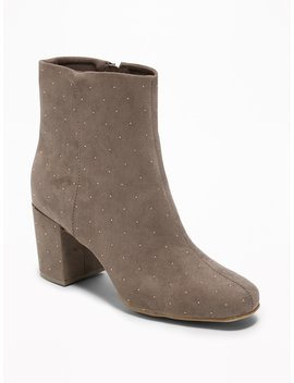 Studded Faux Suede Block Heel Boots For Women by Old Navy
