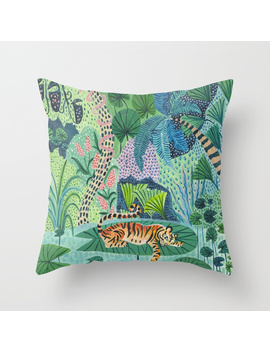 Jungle Tiger Throw Pillow by