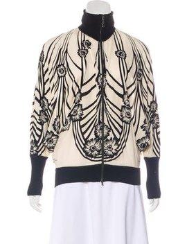 Jean Paul Gaultier Soleil Floral Print Velvet Trimmed Zip Up Jacket by Jean Paul Gaultier Soleil