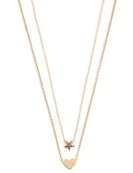 Heart & Star Charm Necklace Set by Forever 21