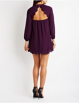 Scalloped Open Back Shift Dress by Charlotte Russe