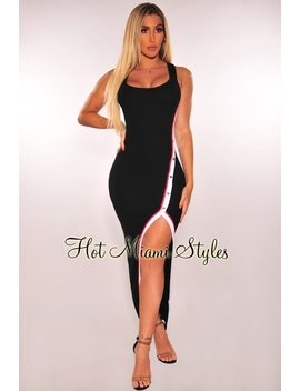 Black White Striped Ribbed Knit Button Down Slit Dress by Hot Miami Style