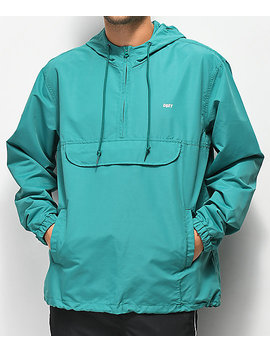 Obey Crosstown Ii Teal Anorak Jacket by Obey