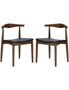 2xhome Set Of 2 Mid Century Modern Walnut Brown Dark Wood Pu Leather Cushion Padded Seat Kitchen Dining Chair Armless Side Chair by Generic