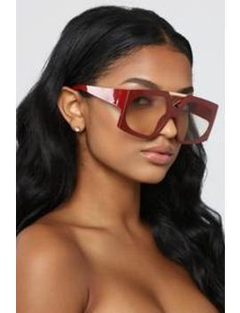 He's On To You Sunglasses   Red by Fashion Nova