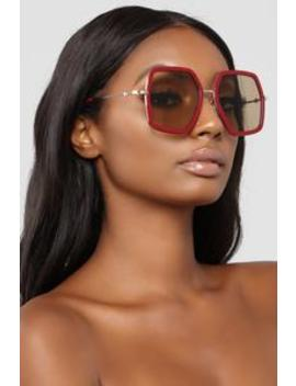 Let's Roll Sunglasses   Red by Fashion Nova