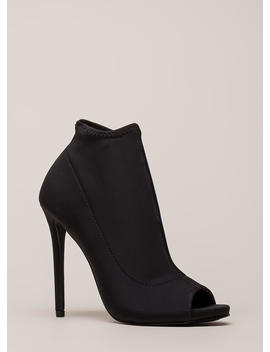 You're Covered Peep Toe Stiletto Booties by Go Jane