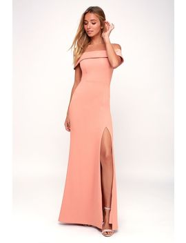 Aveline Mauve Pink Off The Shoulder Maxi Dress by Lulus