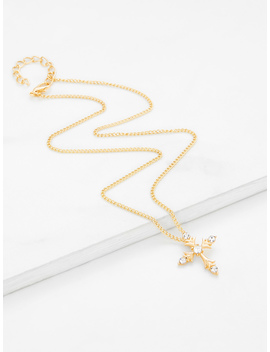 Cross Pendant Chain Necklace With Rhinestone by Romwe