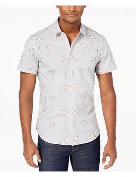 Men's Pinstripe Palm Print Shirt by Versace