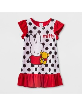 Toddler Girls' Miffy Bear Ruffle Nightgown   Red by Miffy