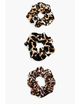 Mixed Animal Print Scrunchie 3 Pack by Boohoo
