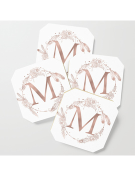 Letter M Rose Gold Pink Initial Monogram Coaster by