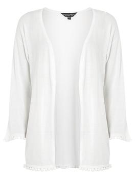 White Pom Pom Trim Cardigan by Dorothy Perkins