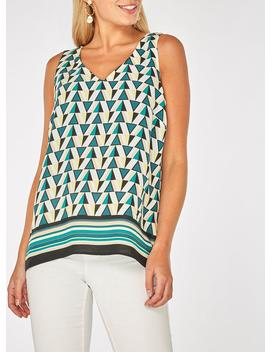 Green Geometric And Stripe Print Top by Dorothy Perkins