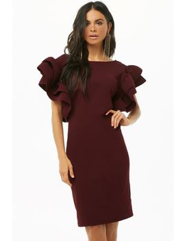 Structured Ruffle Sleeve Dress by Forever 21
