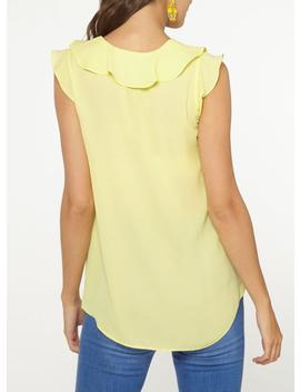 **Billie & Blososm Tall Ruffle Front Lemon Top by Dorothy Perkins