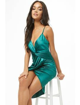 Twist Front Satin Mini Dress by Forever 21