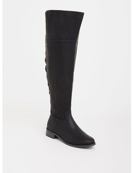 Black Lattice Faux Leather Over The Knee Boot (Wide Width) by Torrid