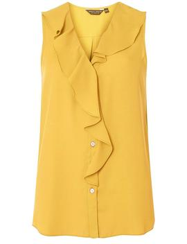 Yellow Ruffle Front Sleeveless Top by Dorothy Perkins