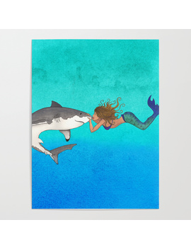 The Shark And The Mermaid Poster by