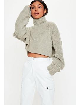 Stone Borg High Neck Cropped Sweatshirt by Missguided
