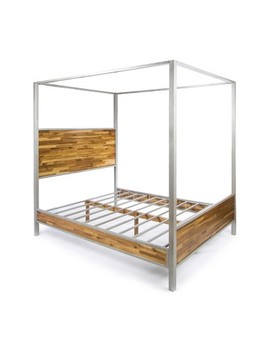 Queen Oatha Industrial Canopy Bed   Christopher Knight Home by Christopher Knight Home