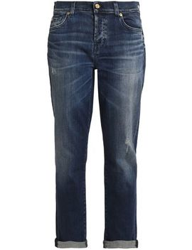 Distressed Mid Rise Straight Leg Jeans by 7 For All Mankind