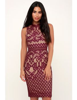 Adra Burgundy Lace Midi Dress by Lulus