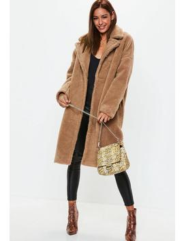 Caramel Chunky Borg Crombie Coat by Missguided