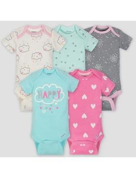 Gerber Baby Girls' 5pk Short Sleeve Onesies Bodysuit Clouds   Green/Pink/Gray by Gerber
