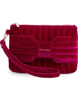 Junie Bow Quilted Velvet Wristlet by Ted Baker London