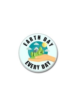 Environmental Day Button (31mm, Badges, Pins, Patches, Tees, Go Green, Save The Earth, Save The Planet, Climate Change) by Paramythenio
