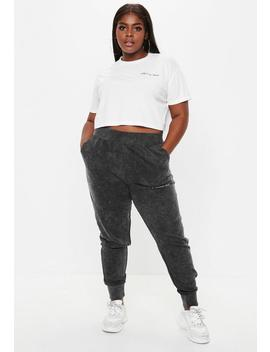 Plus Size Grey Acid Wash Missguided Slogan Joggers by Missguided