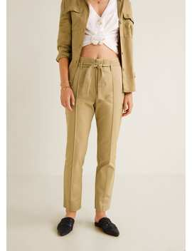Pantalon En Coton Avec Ceinture by Mango