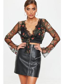 Black Embroidered Tie Front Crop Top by Missguided