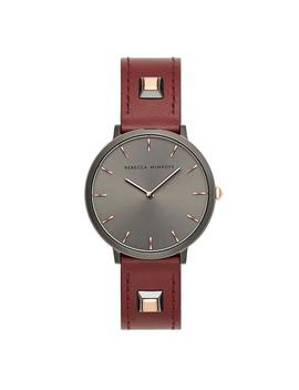 Major Grey Tone Burgundy Leather Strap Watch, 35mm by Rebecca Minkoff