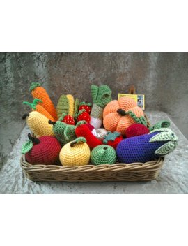 26pc Play Food Set, Crochet Pretend Food, Pretend Play Crochet Vegetables, Montessori Toys, Tactile Toys, Play Kitchen Food, Nursery Decor by Kingsnqueenscrochet