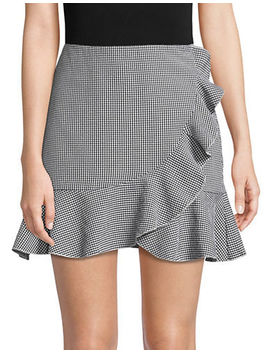 Seersucker Gingham Ruffle Front Mini Skirt by Design Lab Lord & Taylor