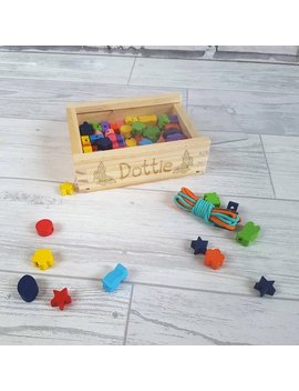 Personalised Bead Kit, Jewellery Making, Threading, Wooden Toy  00008 by Love Emma Design