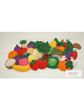 Felt Fruits And Vegetables Set (33 Pieces), Felt Vegetables by Triofelt